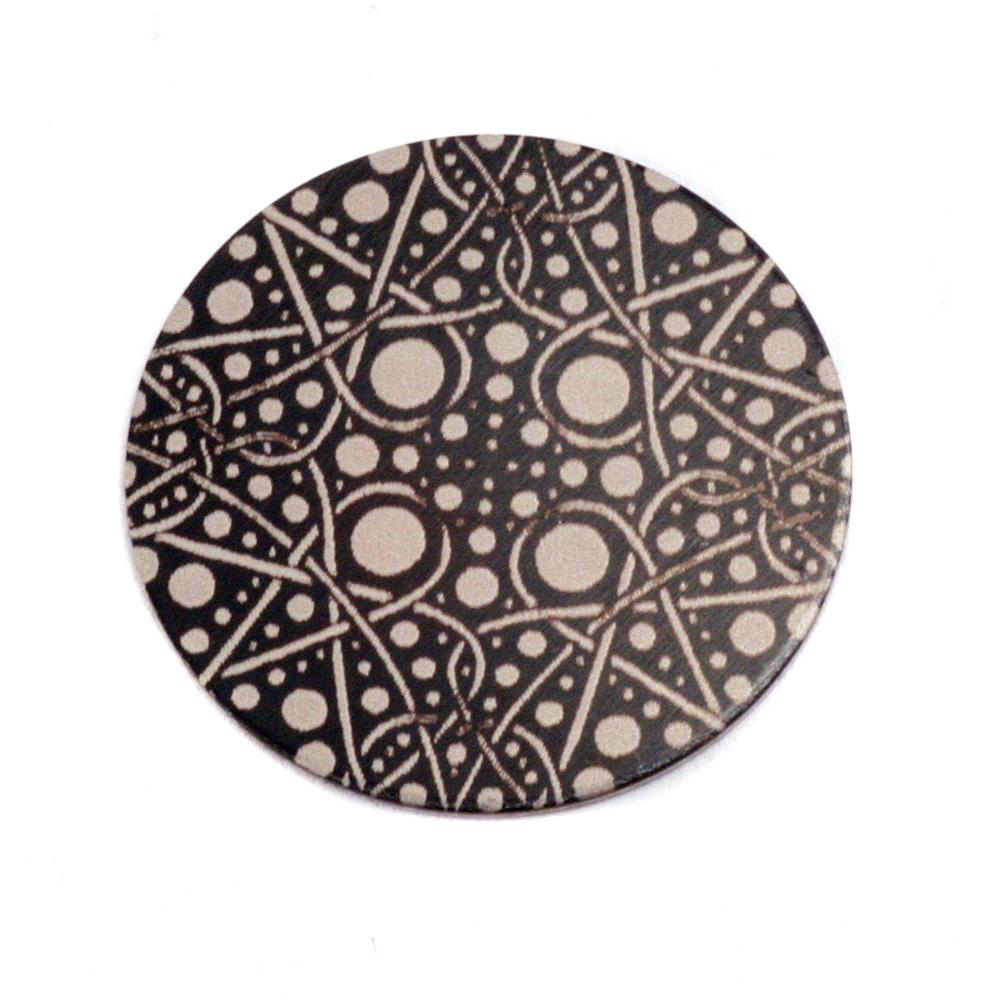 "Metal Stamping Blanks Anodized Aluminum 3/4"" Circle, Black Design #16, 22g"