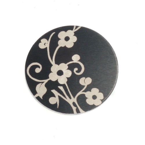 "Metal Stamping Blanks Anodized Aluminum 5/8"" Circle, Black Design #1, 22g"