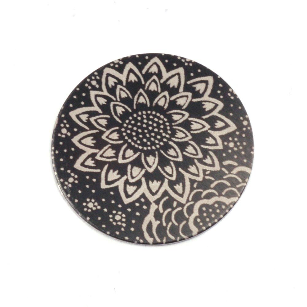 """Anodized Aluminum 5/8"""" Circle, Black Design #3, 22g"""