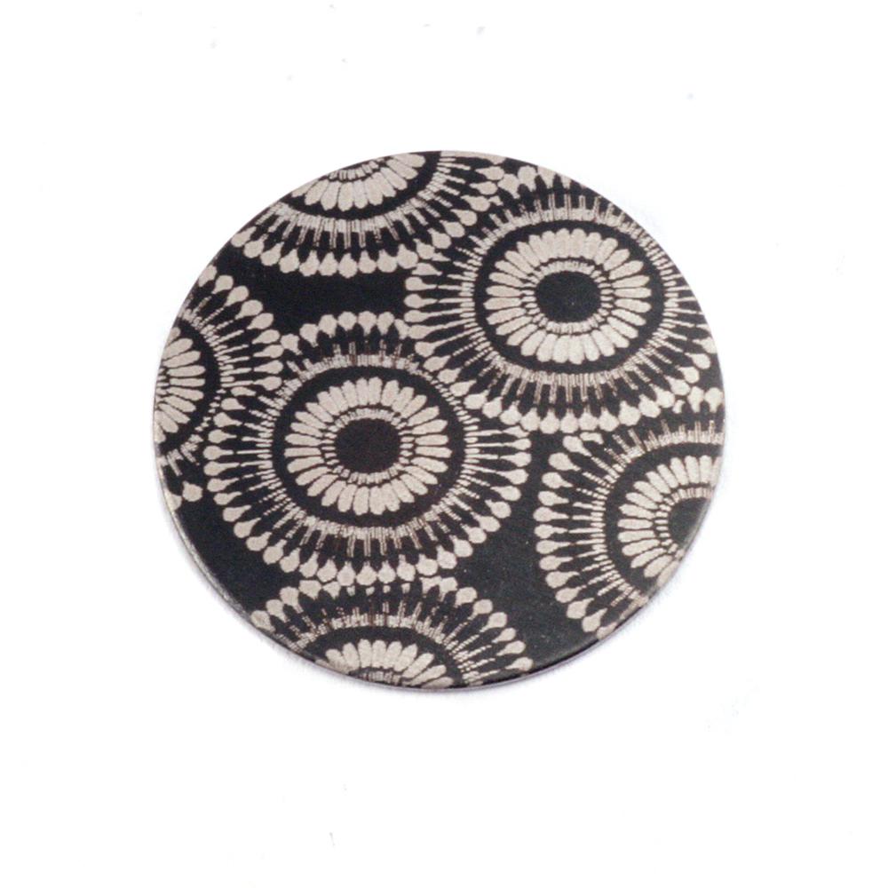 """Anodized Aluminum 5/8"""" Circle, Black Design #7, 22g"""