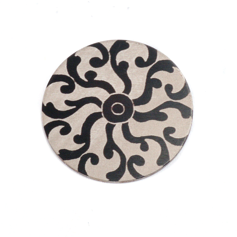 "Anodized Aluminum 5/8"" Circle, Black Design #8, 22g"