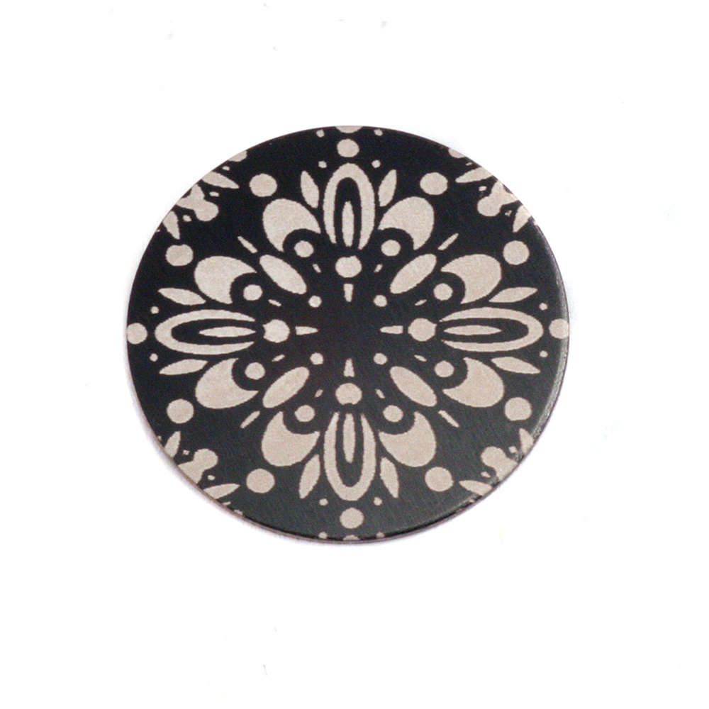 "Anodized Aluminum 5/8"" Circle, Black Design #10, 22g"