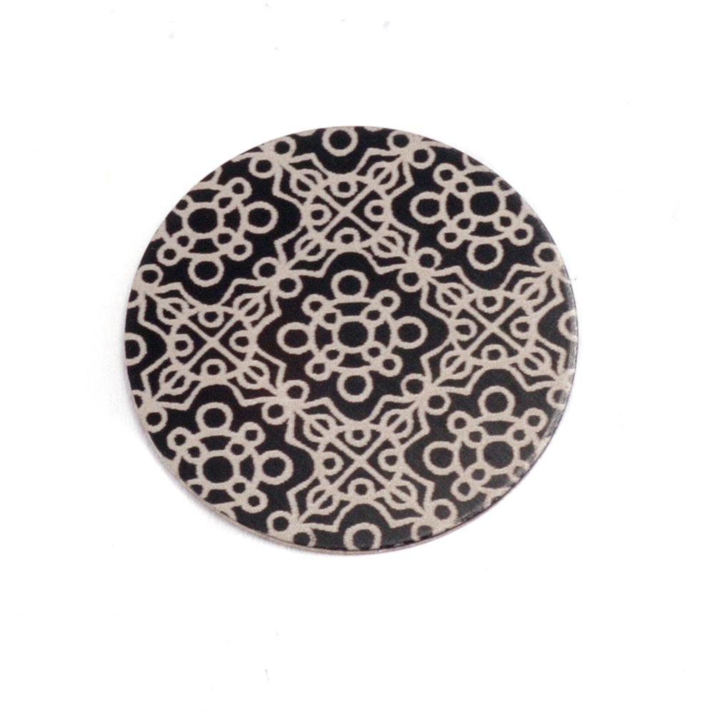 """Anodized Aluminum 5/8"""" Circle, Black Design #11, 22g"""