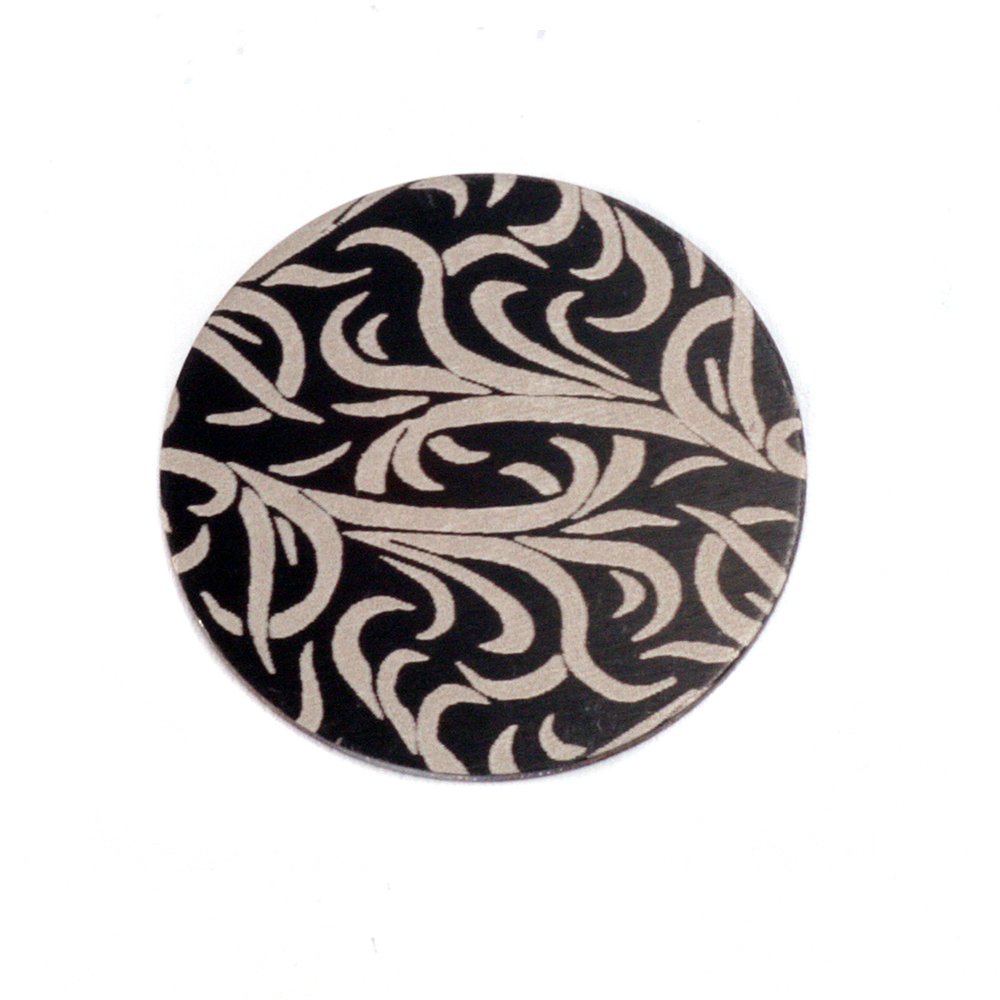 "Anodized Aluminum 5/8"" Circle, Black Design #15, 22g"