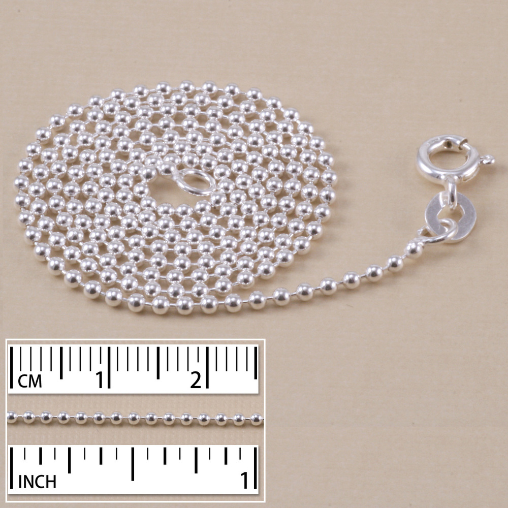 Chain & Clasps Sterling Silver Ball Chain, 1.5mm, 20""
