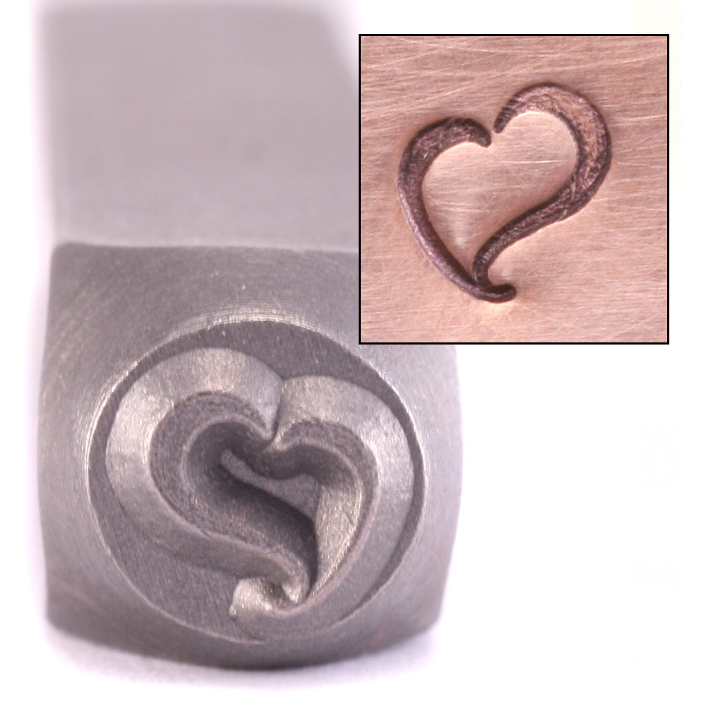 Metal Stamping Tools Swirly Heart Design Stamp by ImpressArt