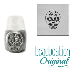 Metal Stamping Tools Sugar Skull Metal Design Stamp, 8mm - Beaducation Original