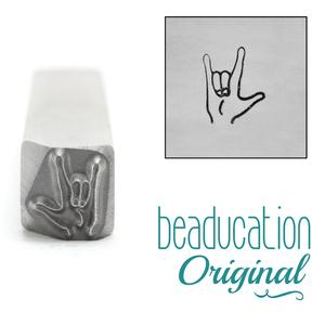 "Metal Stamping Tools ASL ""I Love You"" Sign Metal Design Stamp, 8mm - Beaducation Original"