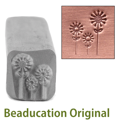 Metal Stamping Tools 3 Flowers Metal Design Stamp-Beaducation Original