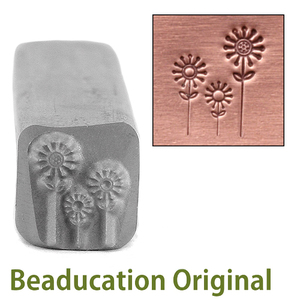 Metal Stamping Tools Three Flowers Metal Design Stamp, 9mm - Beaducation Original