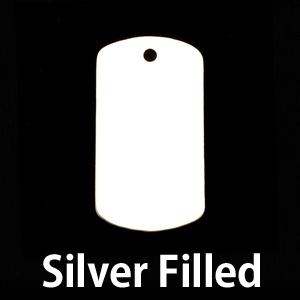 "Metal Stamping Blanks Silver Filled Medium Dog Tag, 29mm (1.14"") x 16mm (.63""), 24g"