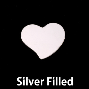 "Metal Stamping Blanks Silver Filled Stylized Heart, 15mm (.59"") x 14mm (.55""), 24g"
