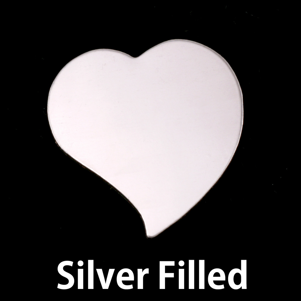 "Metal Stamping Blanks Silver Filled Stylized Heart, 22mm (.87"") x 19.5mm (.77""), 24g"