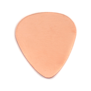 "Metal Stamping Blanks Copper ""Guitar Pick"", 30mm (1.18"") x 25.5mm (1""), 24g, Pk of 5"