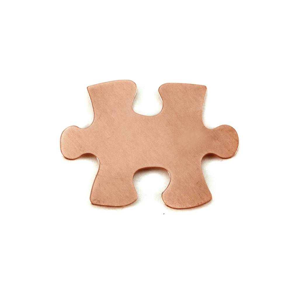 "Metal Stamping Blanks Copper Puzzle Piece, 31mm (1.22"") x 23.5mm (.93""), 24g, Pack of 5"
