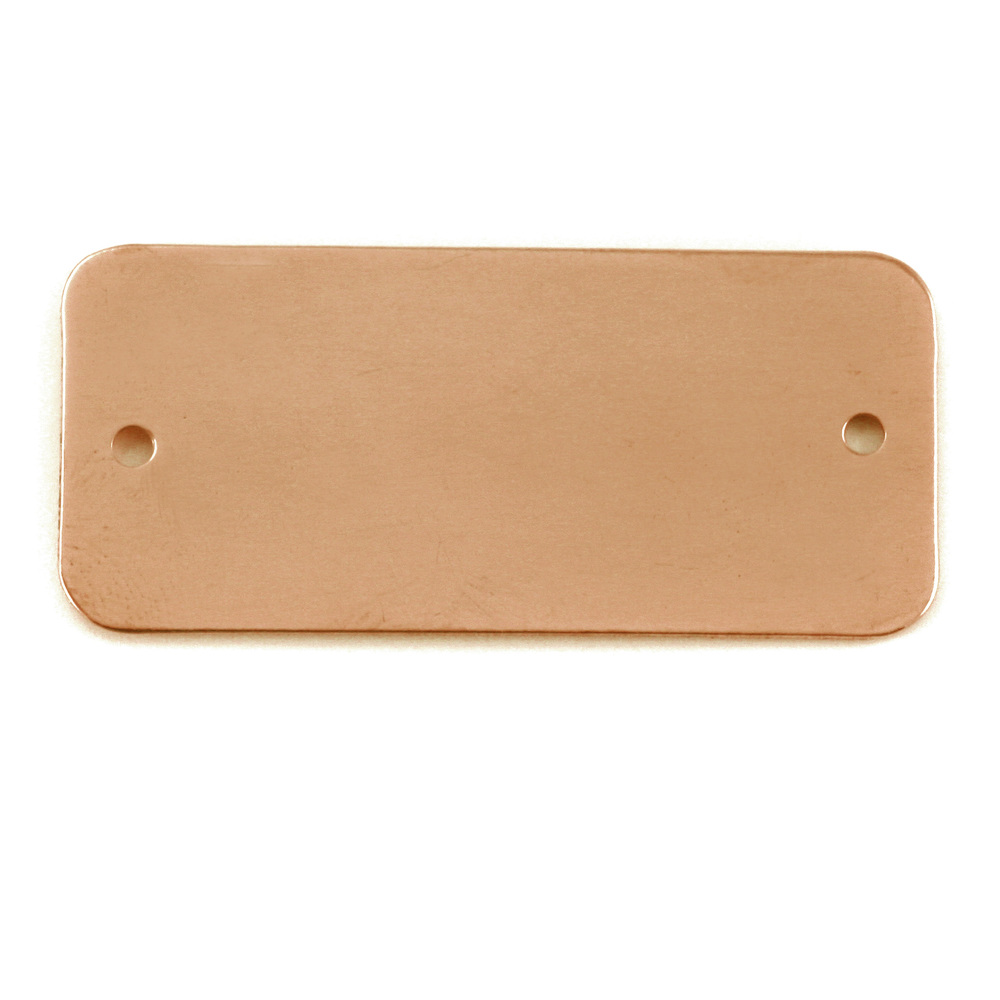 "Metal Stamping Blanks Copper Rectangle with Holes, 44.5mm (1.75"") x 20mm (.79""), 24g"