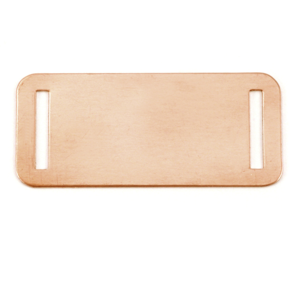 "Metal Stamping Blanks Copper Rectangle with Slits, 44.5mm (1.75"") x 20mm (.79""), 24g, Pack of 5"