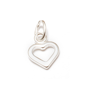 Charms & Solderable Accents Sterling Silver Tiny Open Heart Charm with Top Loop