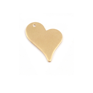 "Metal Stamping Blanks Brass Stylized Heart Tag with Hole, 16.5mm (.65"") x 12mm (.47""), 28g"