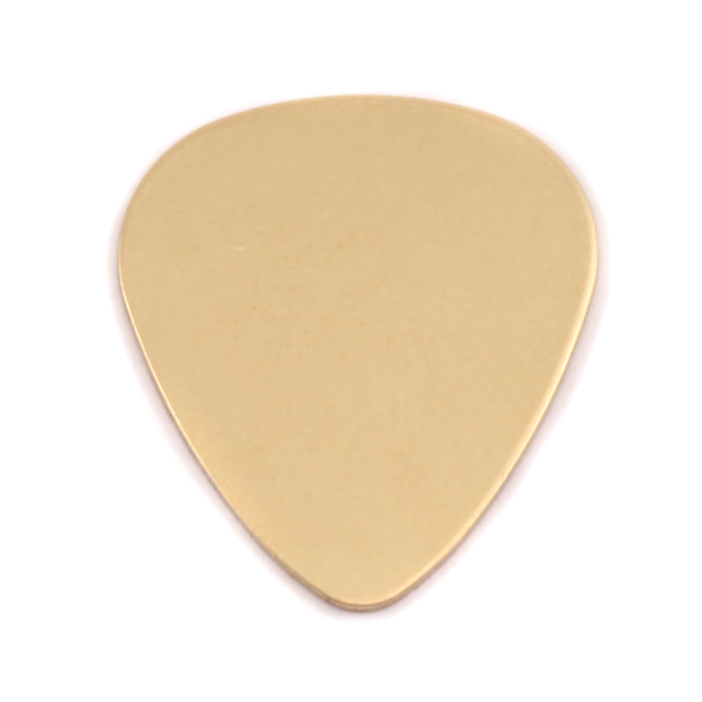 "Metal Stamping Blanks Brass ""Guitar Pick"", 30mm (1.18"") x 25.5mm (1""), 24g, Pack of 5"