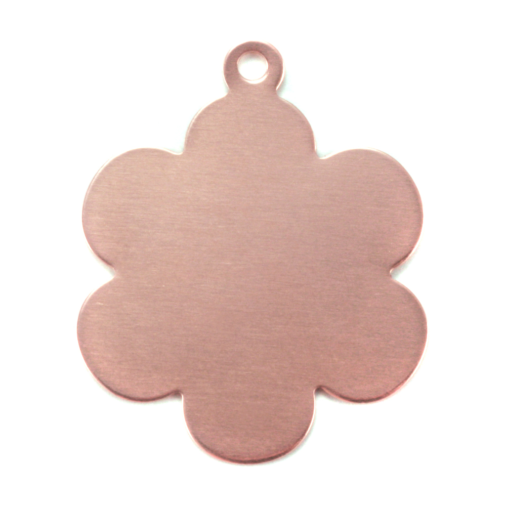"Metal Stamping Blanks Copper Flower with 6 Petals and Top Loop, 25mm (1""), 24g"