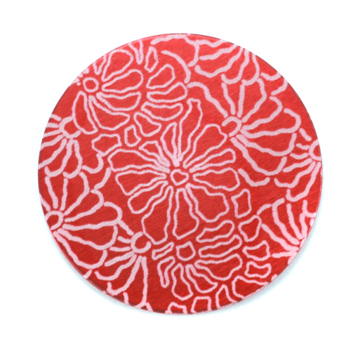 "Dregs Anodized Aluminum 1"" Circle, Red Design #5, 22g"