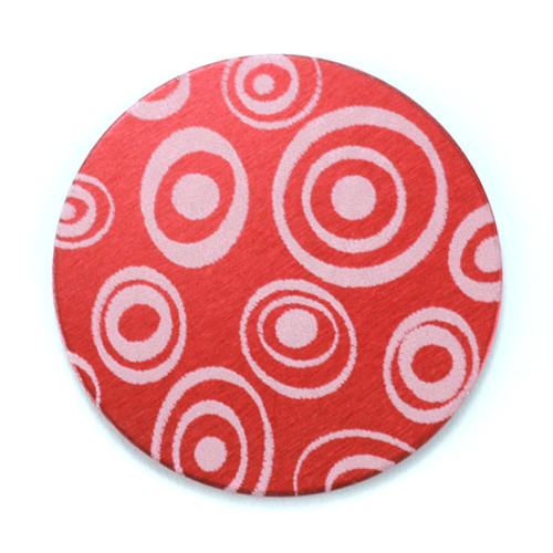 "Dregs Anodized Aluminum 1"" Circle, Red Design #13, 22g"