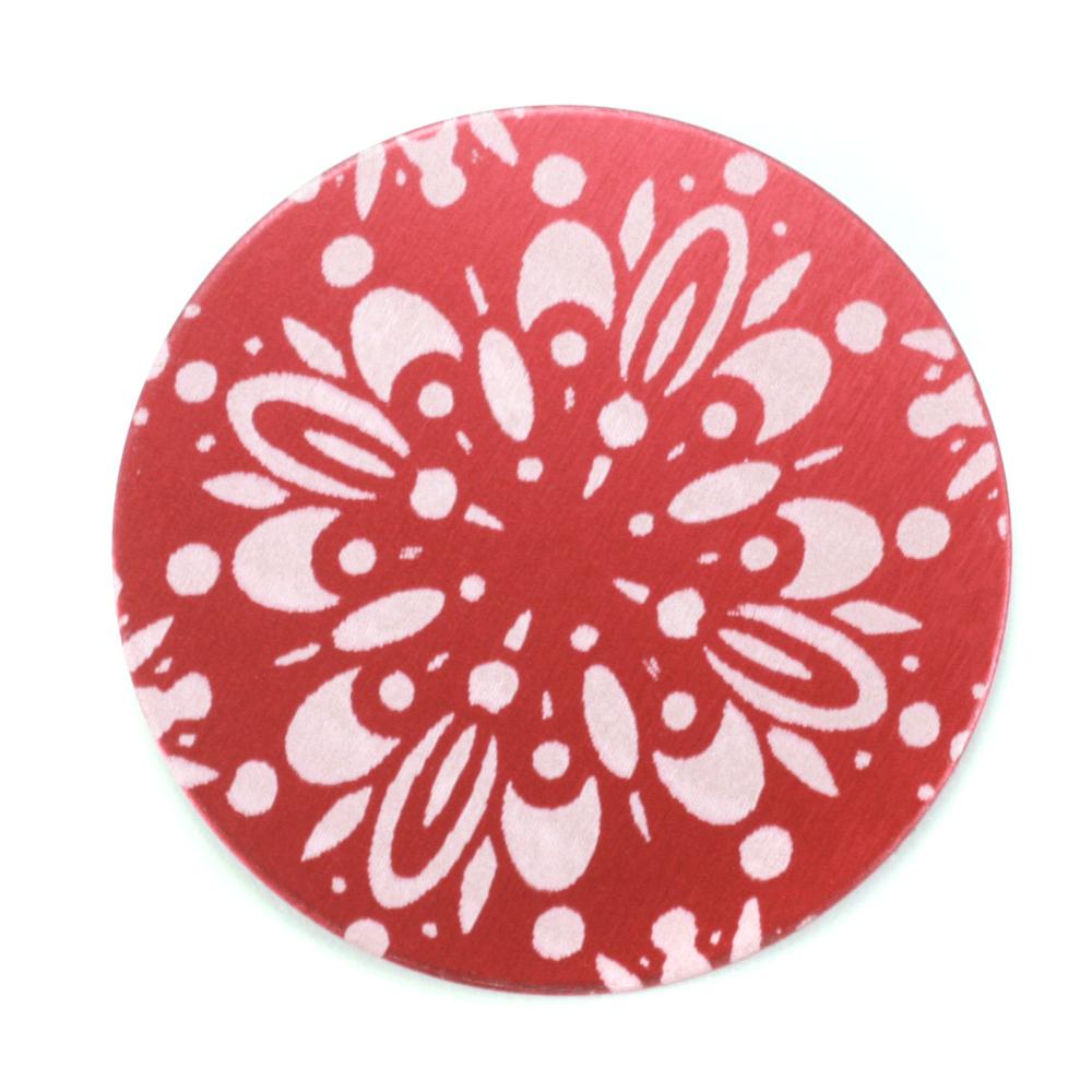 "Anodized Aluminum 1"" Circle, Red Design #10, 22g"