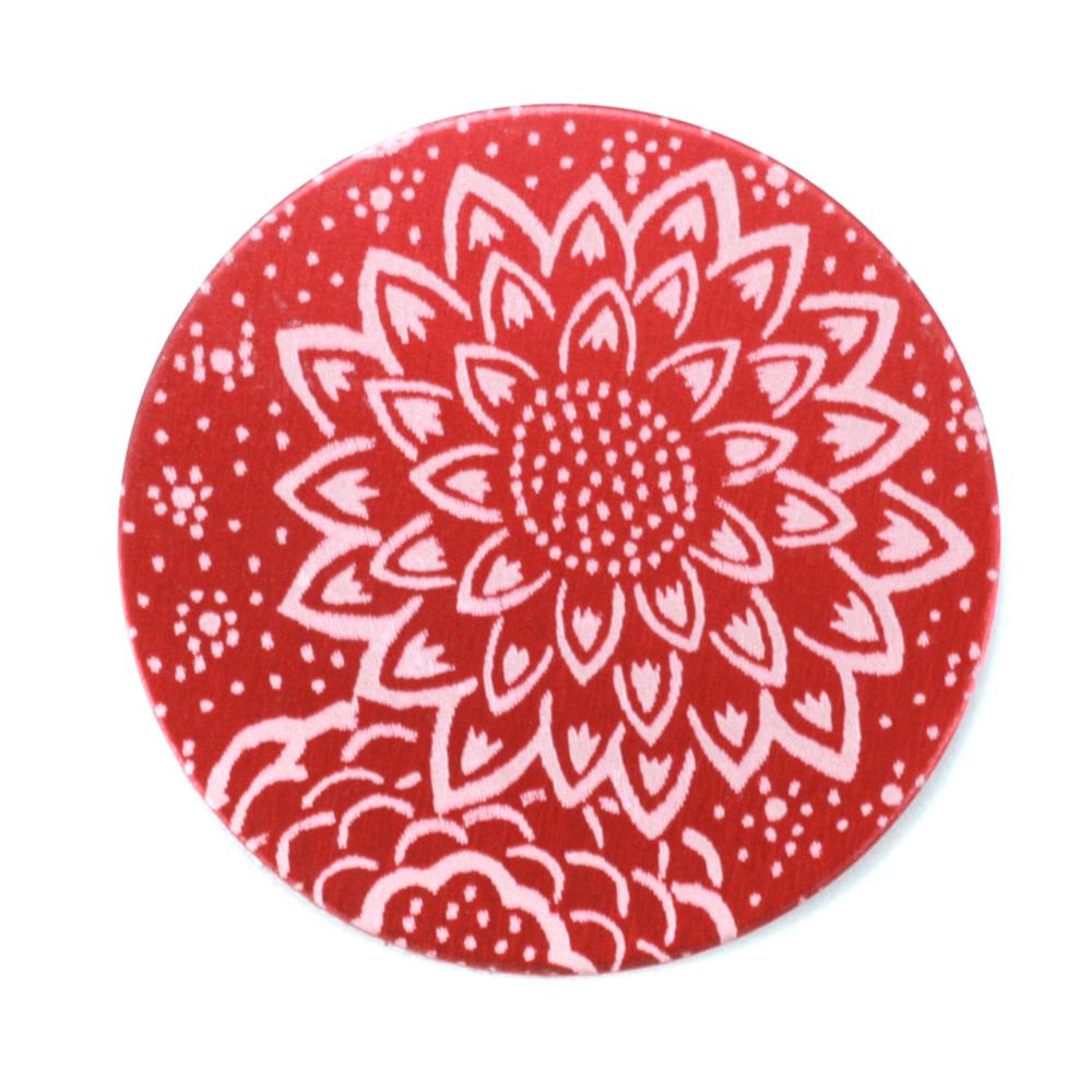 "Anodized Aluminum 1"" Circle, Red Design #3, 22g"