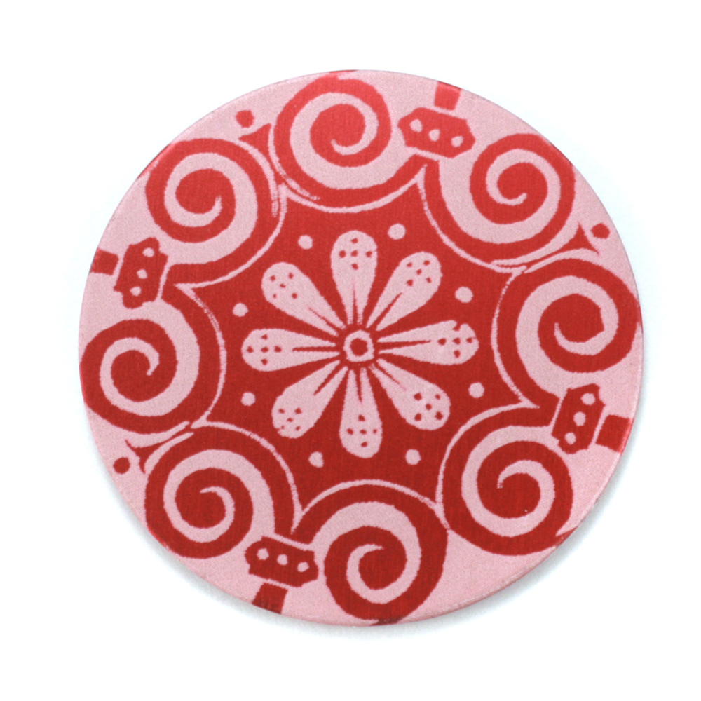 "Anodized Aluminum 1"" Circle, Red Design #4, 22g"