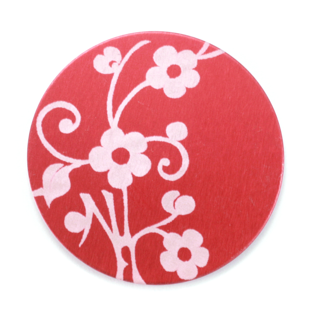 "Anodized Aluminum 1"" Circle, Red Design #1, 22g"