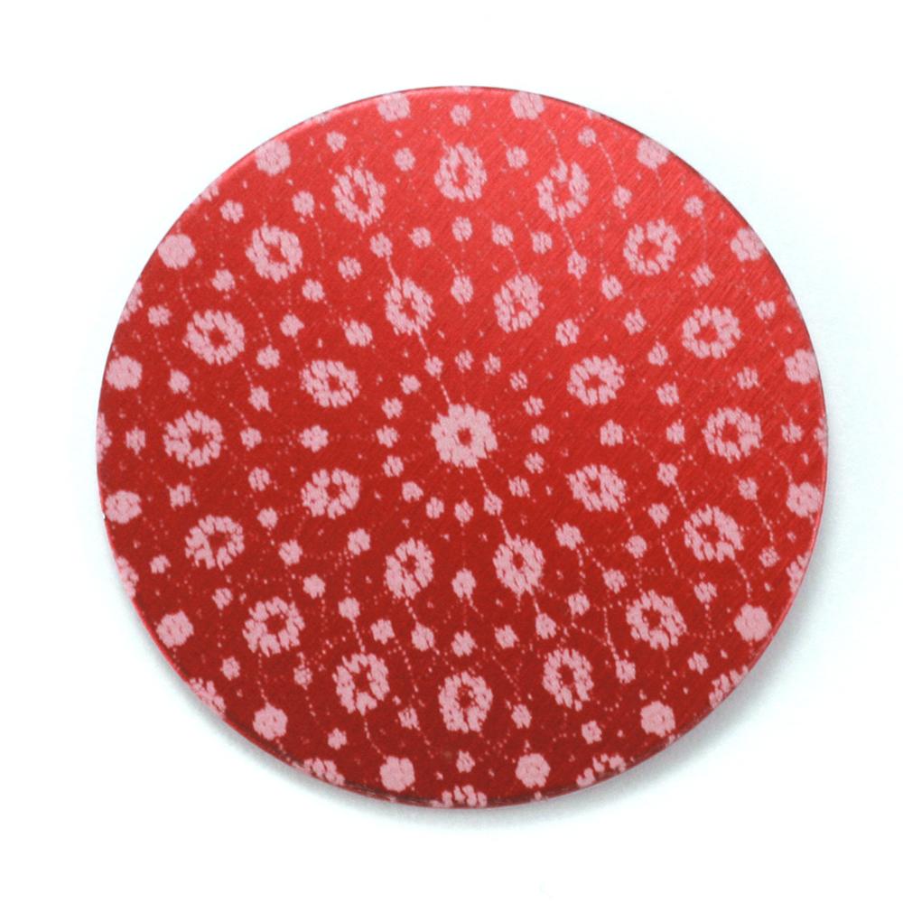 "Anodized Aluminum 1"" Circle, Red Design #9, 22g"