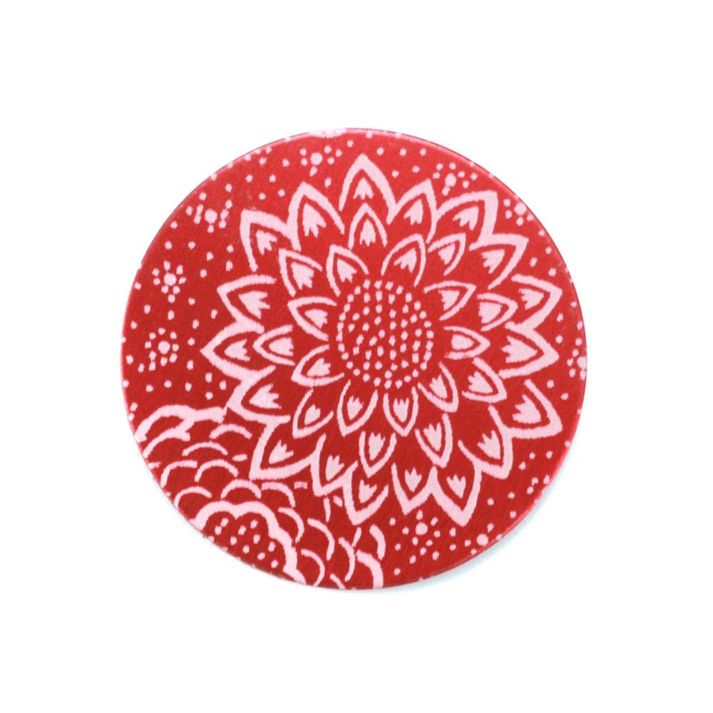 "Anodized Aluminum 3/4"" Circle, Red Design #3, 22g"