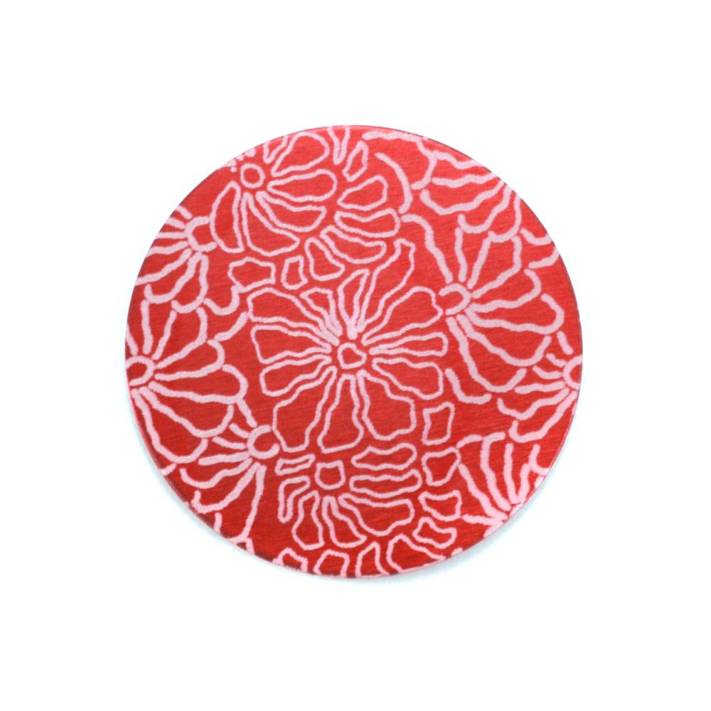"Anodized Aluminum 3/4"" Circle, Red Design #5, 22g"