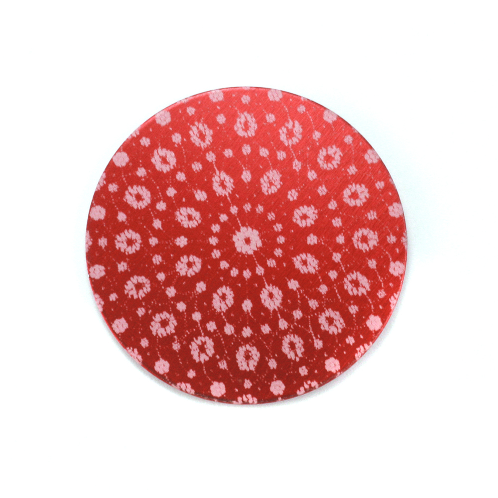 "Anodized Aluminum 3/4"" Circle, Red Design #9, 22g"