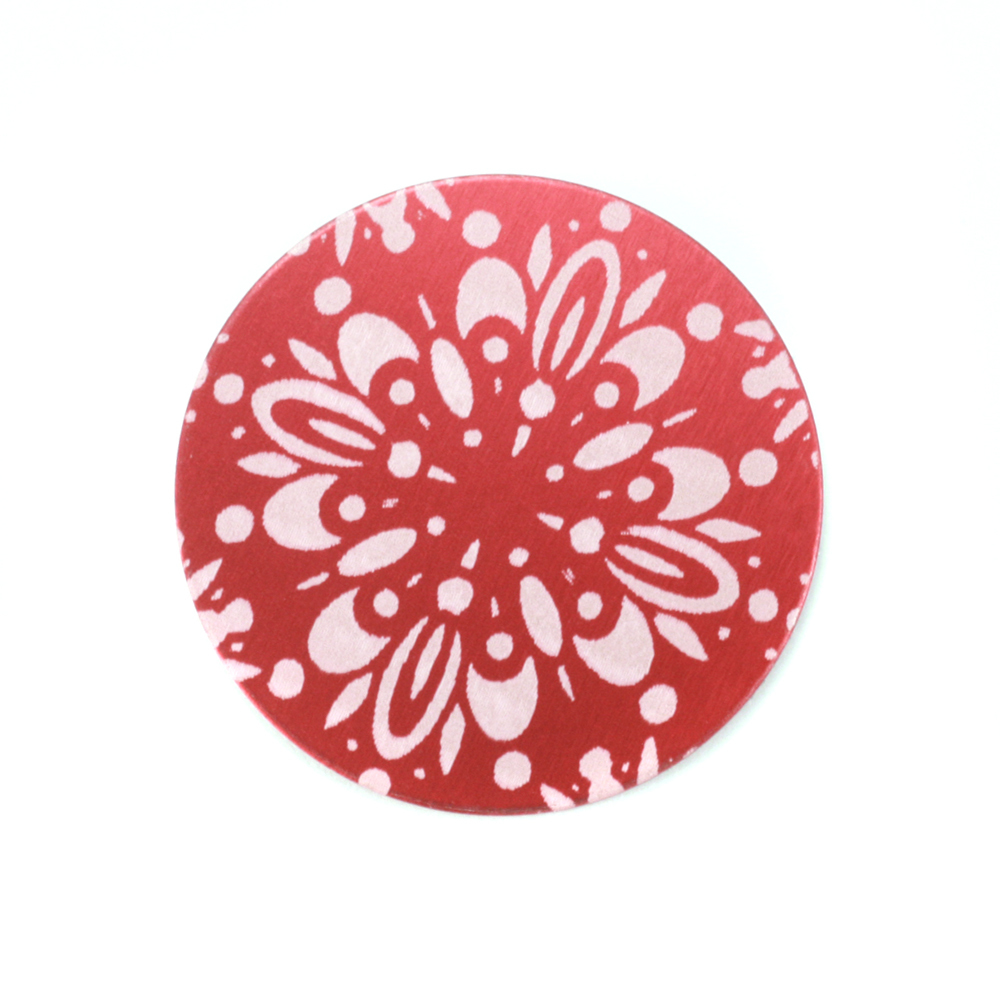 "Metal Stamping Blanks Anodized Aluminum 3/4"" Circle, Red Design #10, 22g"