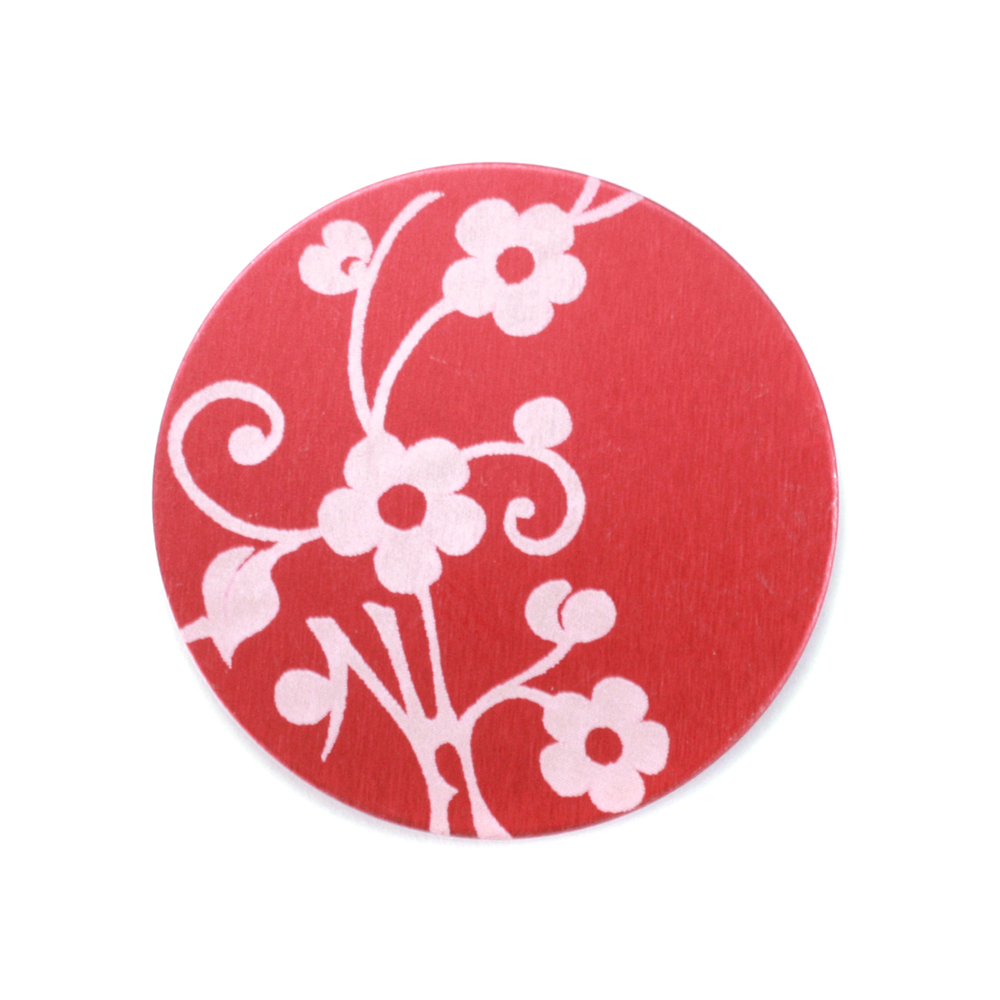 "Anodized Aluminum 3/4"" Circle, Red Design #1, 22g"