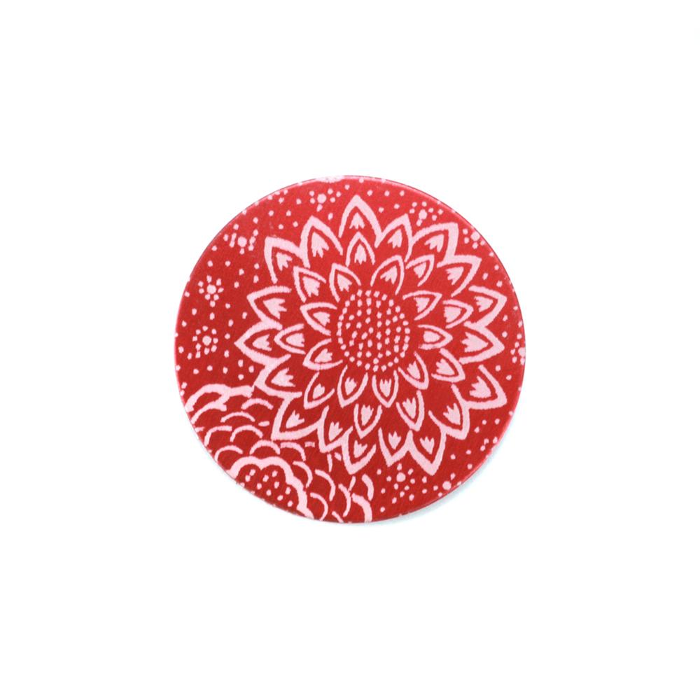 "Anodized Aluminum 5/8"" Circle, Red Design #3, 22g"