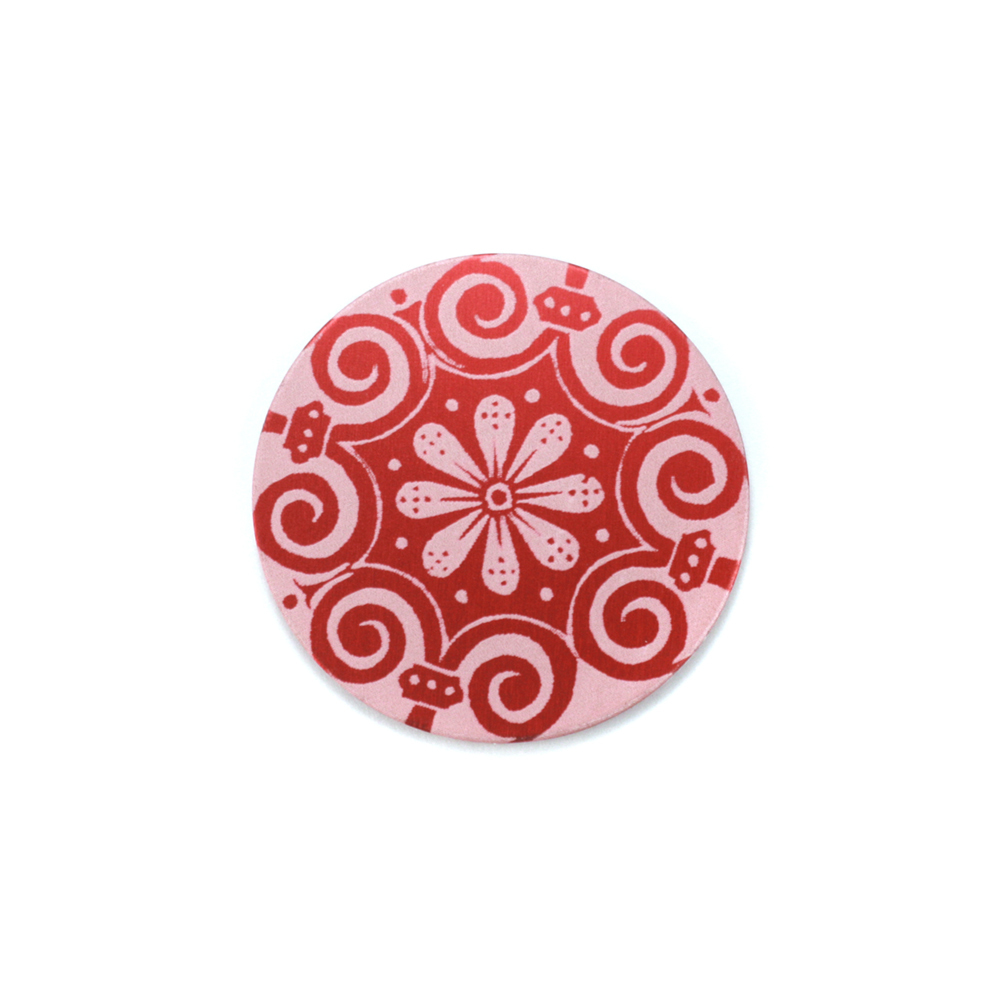 "Anodized Aluminum 5/8"" Circle, Red Design #4, 22g"