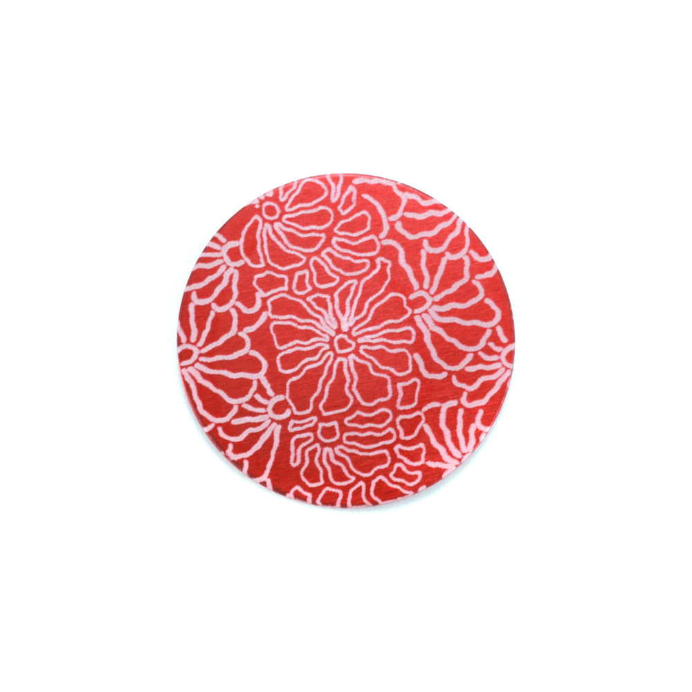 "Metal Stamping Blanks Anodized Aluminum 5/8"" Circle, Red Design #5, 22g"