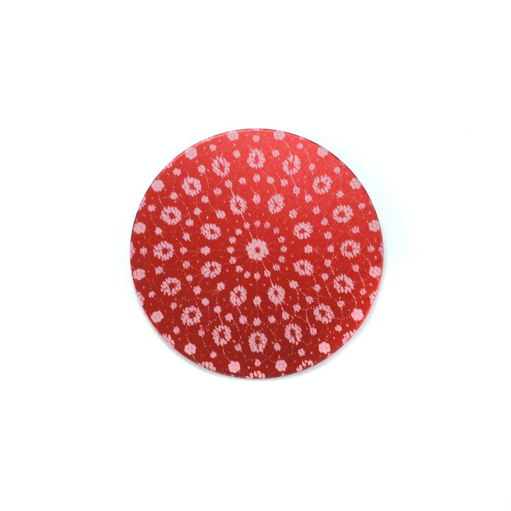 "Anodized Aluminum 5/8"" Circle, Red Design #9, 22g"
