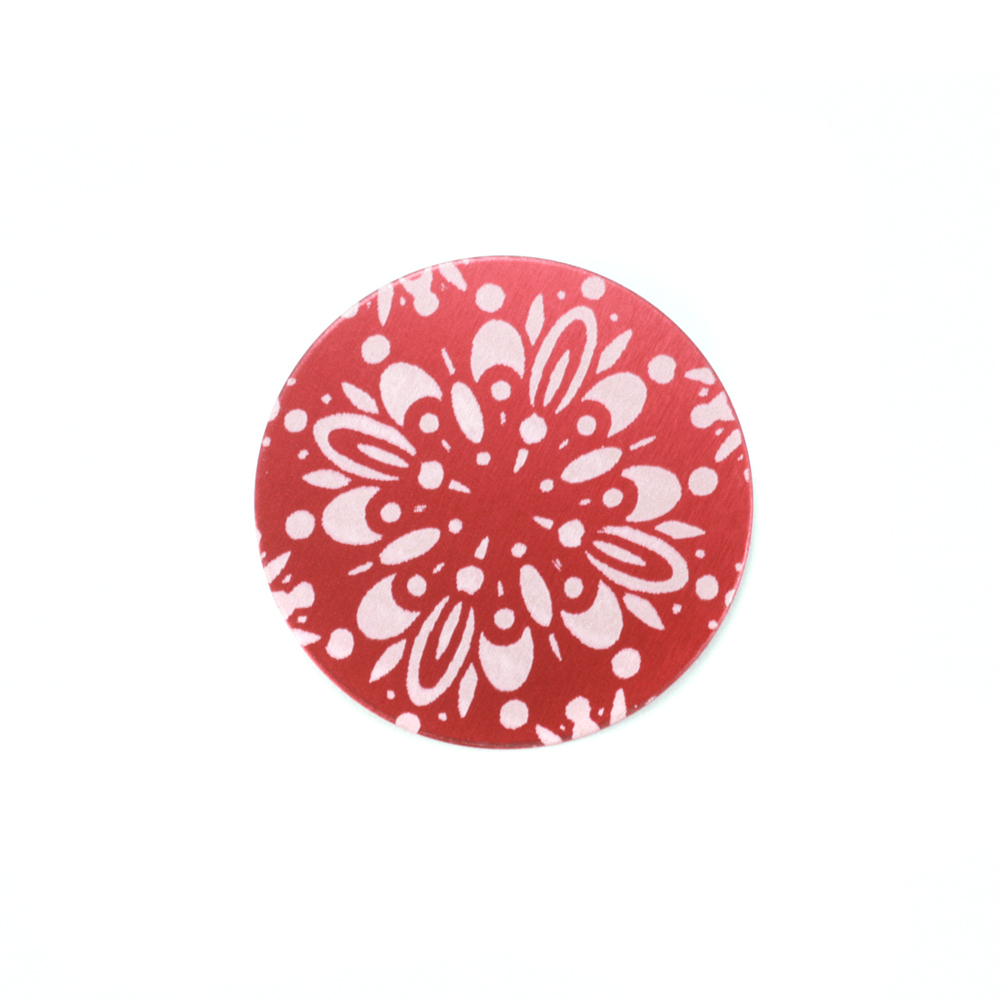 "Metal Stamping Blanks Anodized Aluminum 5/8"" Circle, Red Design #10, 22g"