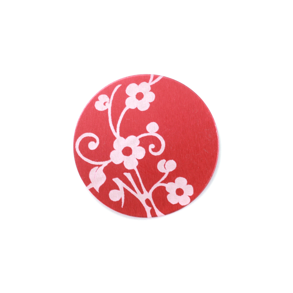 "Anodized Aluminum 5/8"" Circle, Red Design #1, 22g"