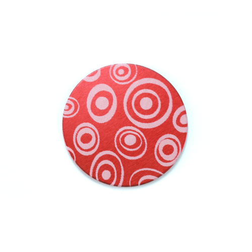 "Metal Stamping Blanks Anodized Aluminum 5/8"" Circle, Red Design #13, 22g"