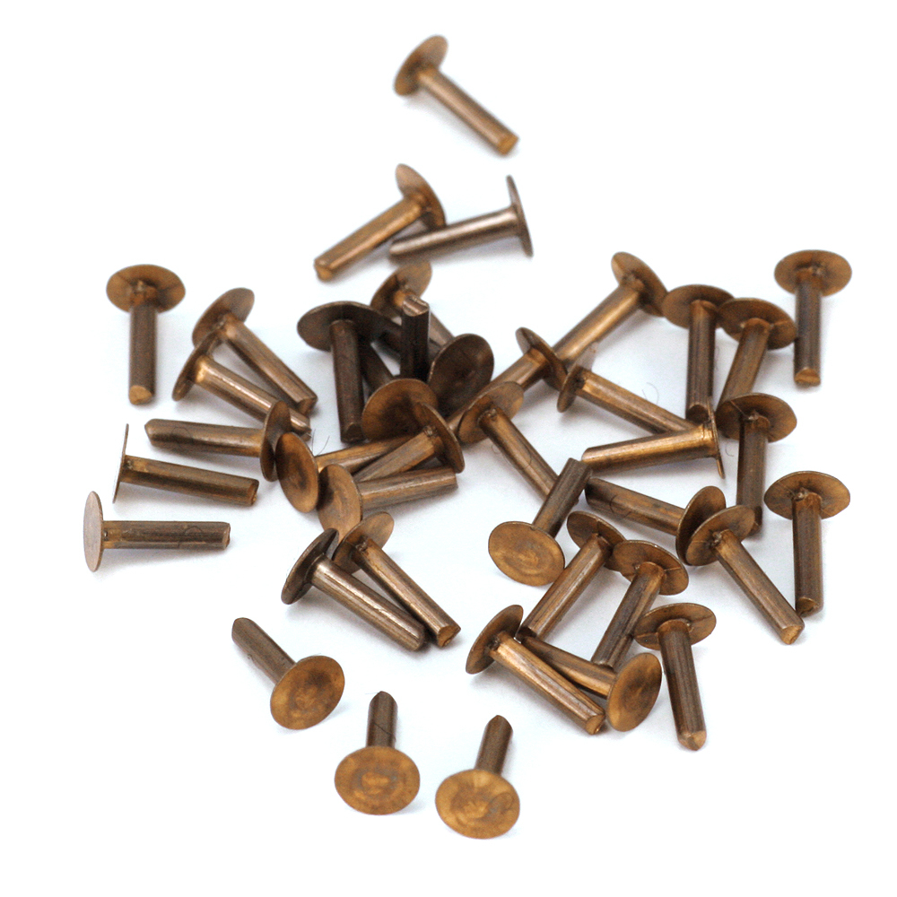 "Rivets and Findings  Antiqued Brass Solid Nail Head 1/20"" Rivets, 1/4"" Long, Pack of 40"