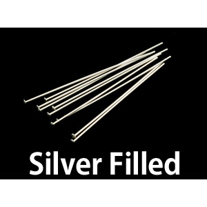 "Clasps, Findings & Stringing Silver Filled Head Pins 1 1/2"" (38mm) 24 gauge pack of 10"