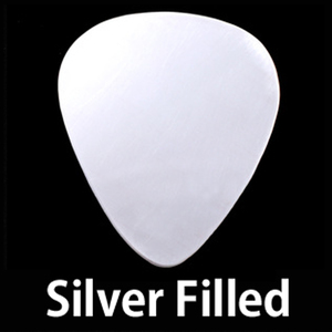"Metal Stamping Blanks Silver Filled ""Guitar Pick"", 30mm (1.18"") x 25.5mm (1""), 24g"