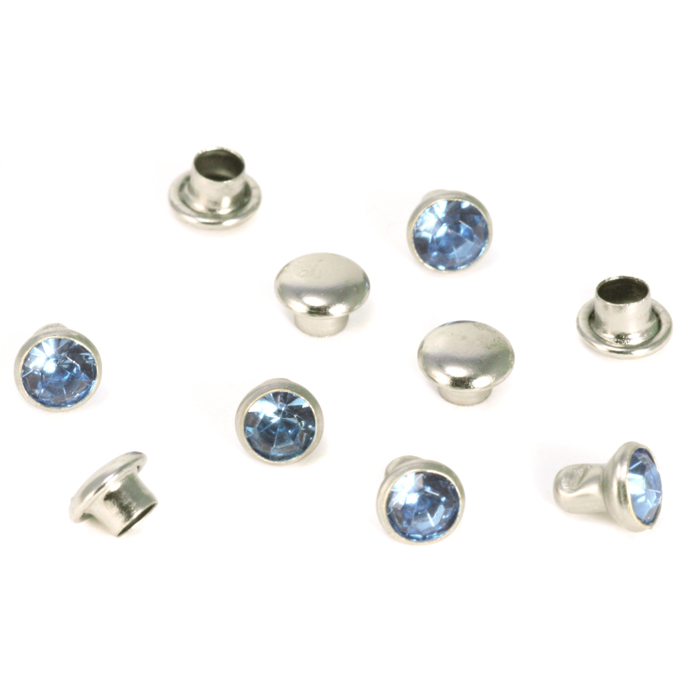 "Rivets,  Findings & Stringing Crystal 5/32"" Snap Rivets, Light Blue 5mm, 5 pk"