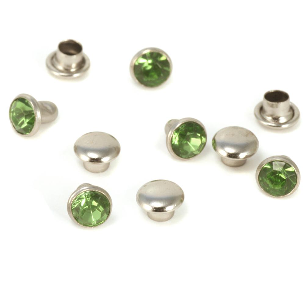 """Rivets,  Findings & Stringing Crystal 5/32"""" Snap Rivets, Light Green 5mm, 5 pk"""