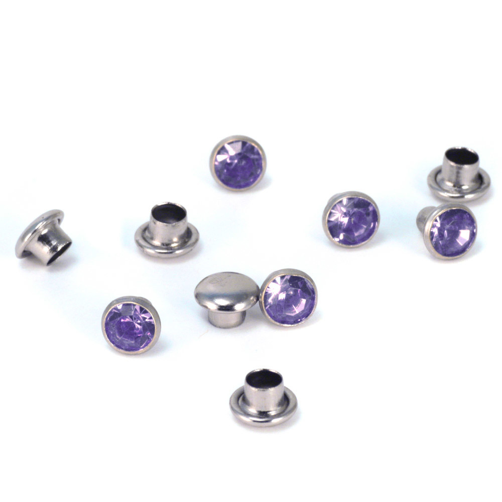 "Rivets and Findings  Crystal 5/32"" Snap Rivets, Light Purple 5mm, 5 pk"